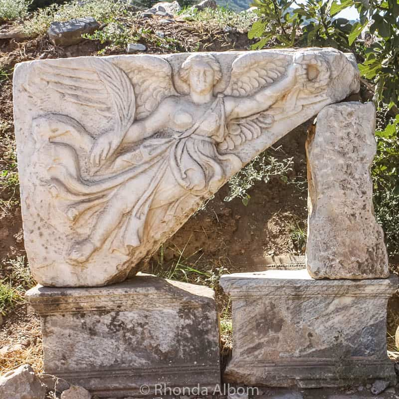 Carving in the ancient city of Ephesus in Turkey