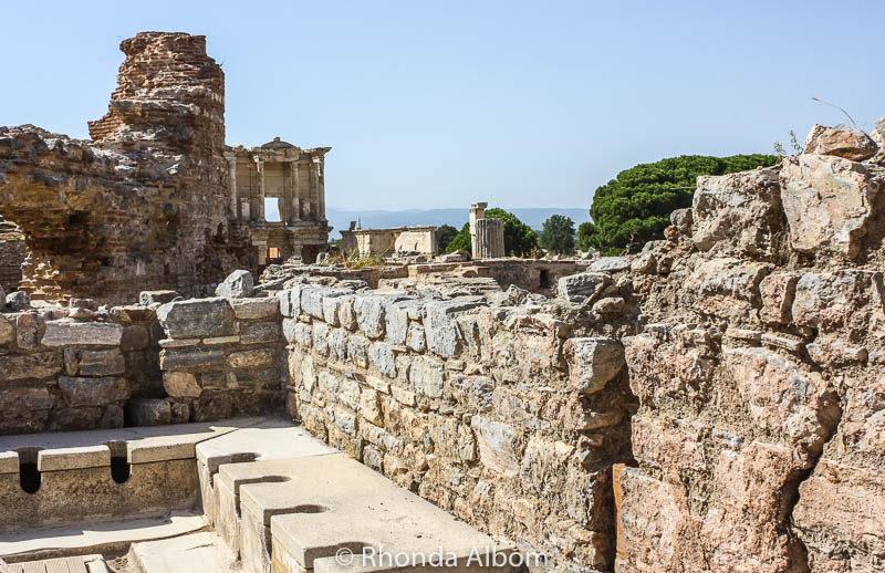 Ancient toilets in Ephesus, Turkey