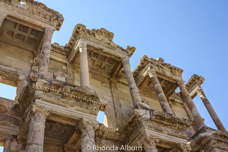 Looking up at the facade of the Ephesus Library, Turkey