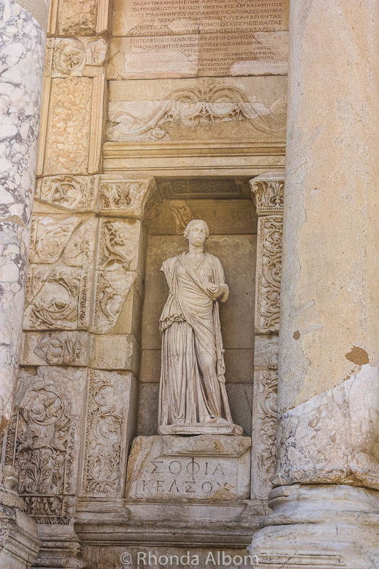 A statue at the Ephesus library in the ancient city in Turkey