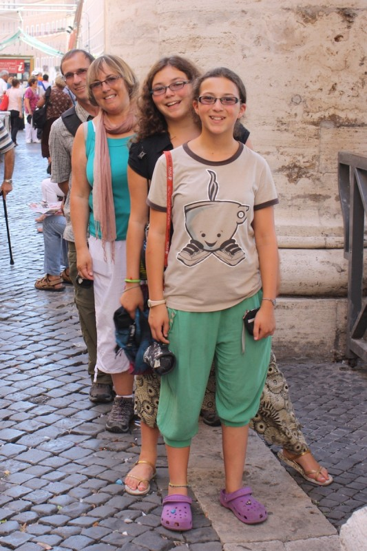 Standing on the border between Vatican City and Italy.