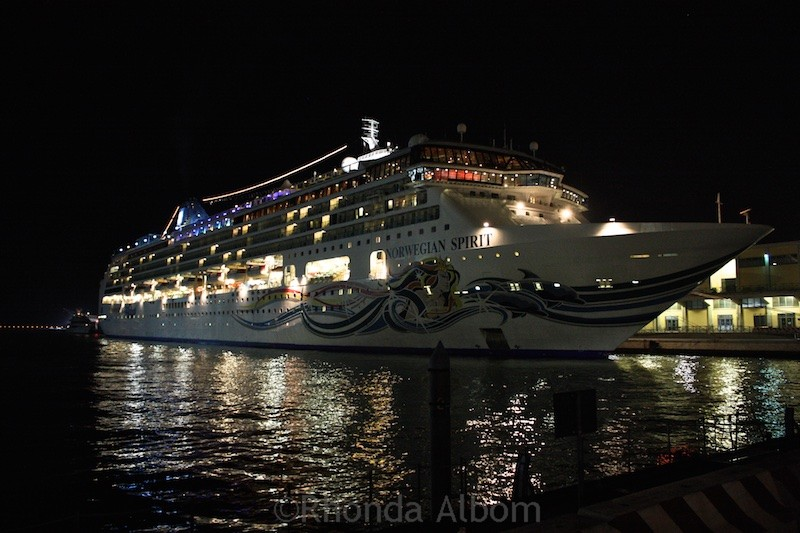 The Norwegian Spirit at night in Venice.