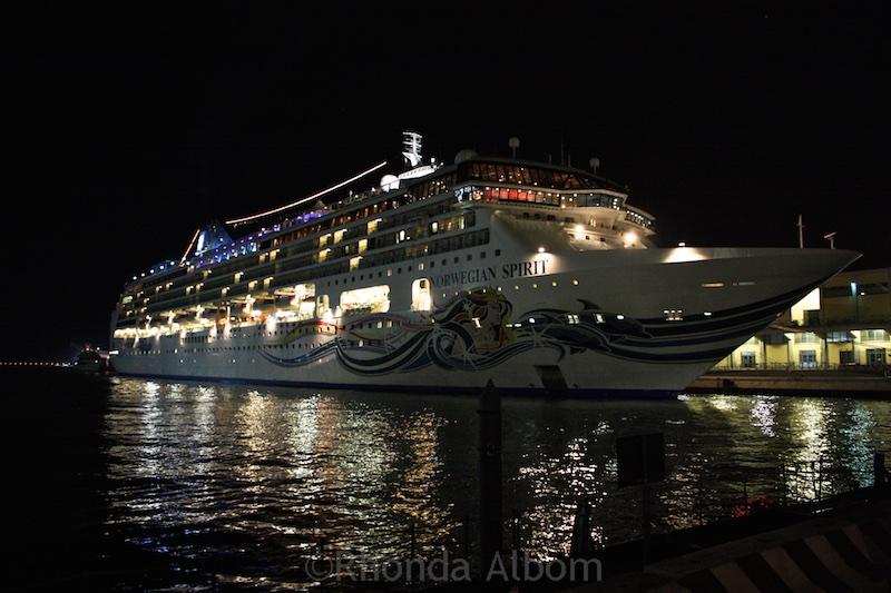 The Norwegian Spirit at night in Venice.