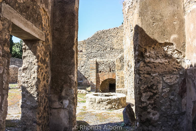 A house amongst the ruins in Pompeii Italy