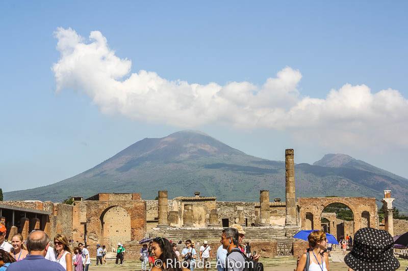 Mt Vesuvius behind Pompeii in Italy