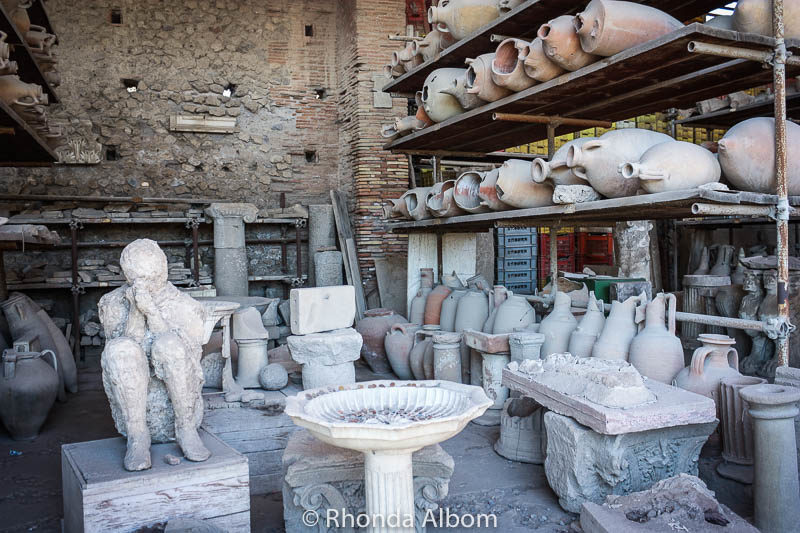 Artefacts at the ruins at Pompeii, Italy