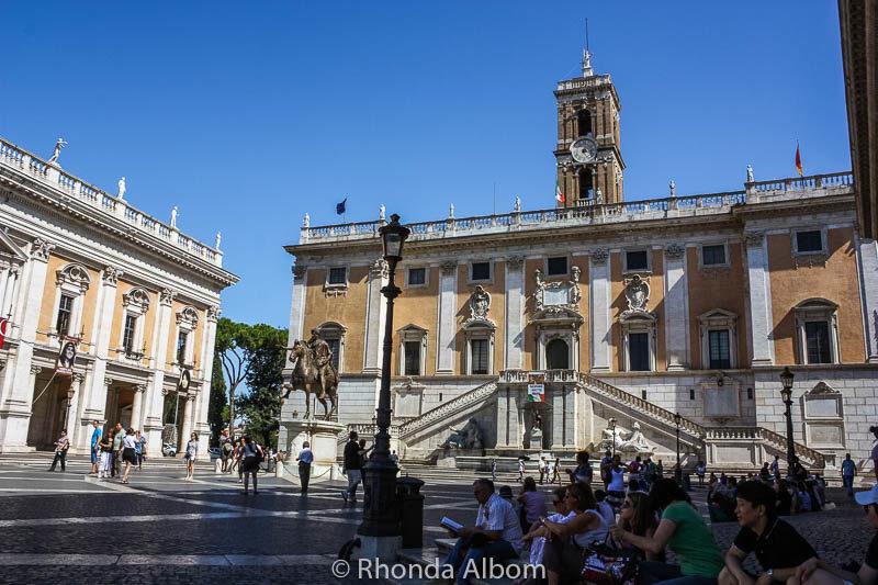 Piazza del Campidoglio atop of Capitoline Hill in Rome Italy