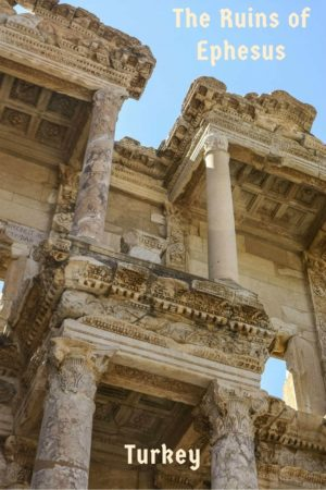 Looking up at the Ephesus library often considered to be one of the most impressive buildings in the Roman Empire. See more photos of the ruins of Ephesus on the article