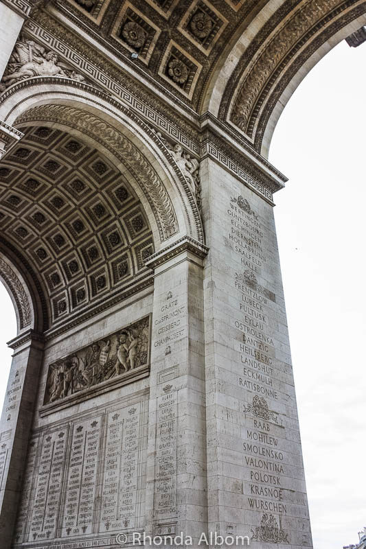 Names on the wall of the Arc de Triomphe in Paris France