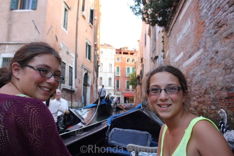 Enjoying a gondola in Venice Italy.