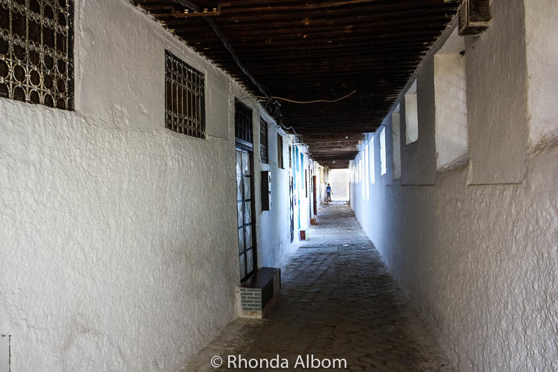 A Long hallway that overlooks the Jewish Cemetery in Fes Morocco