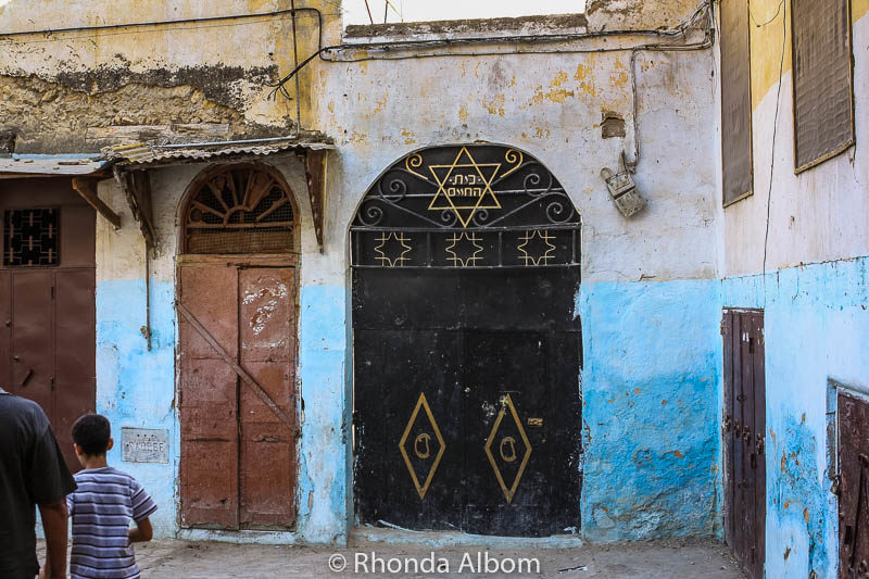 A doorway in the Jewish Quater leading to a Jewish cemetery in Morocco