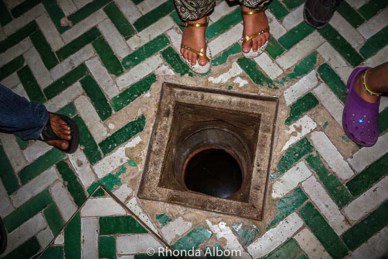 Looking down into the mikva bath at a synagogue in Fes Morocco
