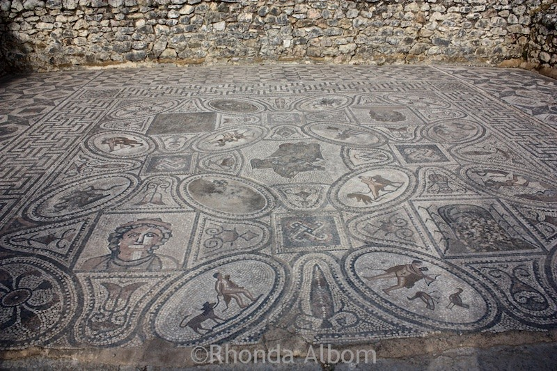 Spectacular floor mosaics in the ancient Roman ruins of Volubilis, Morocco