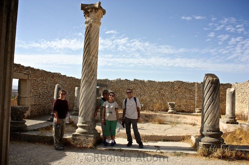 Intricately carved columns are seen though out the ancient city of Volubilis
