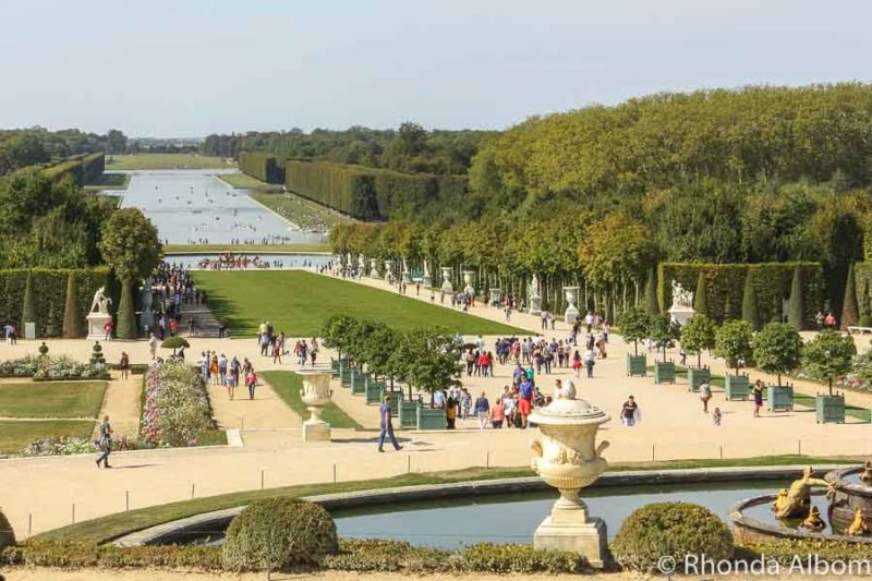 The gardens looking out from the palace of Versailles