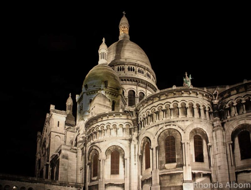 Night photography of Sacre-Coeur in Paris France