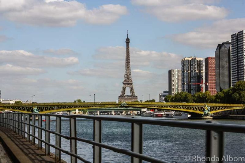 The Eiffel Tower seen from across the river gives the illusion of avoiding crowds in Paris
