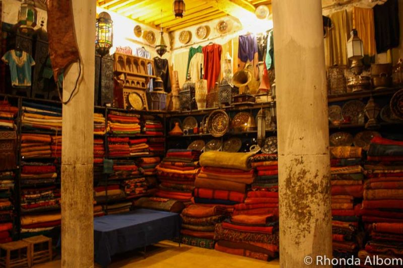 A shop in one of the traditional Moroccan markets, this one in Rissani Morocco