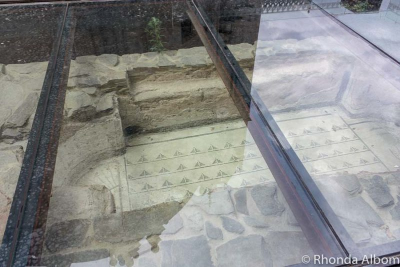 Roman Bath under glass in Lugo Spain