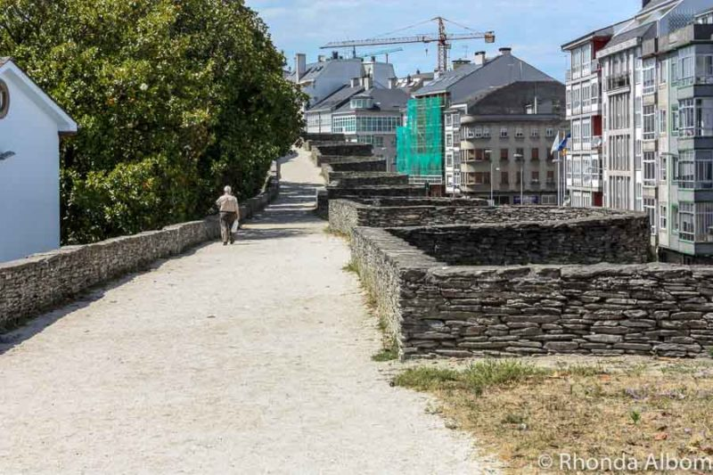 Walking on the city wall in Lugo Spain