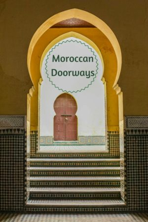 A collection of images of Moroccan doors set in arched doorways and surrounded by intricate tile work offer an insight into another world, a fascinating reflection of craftsmanship.