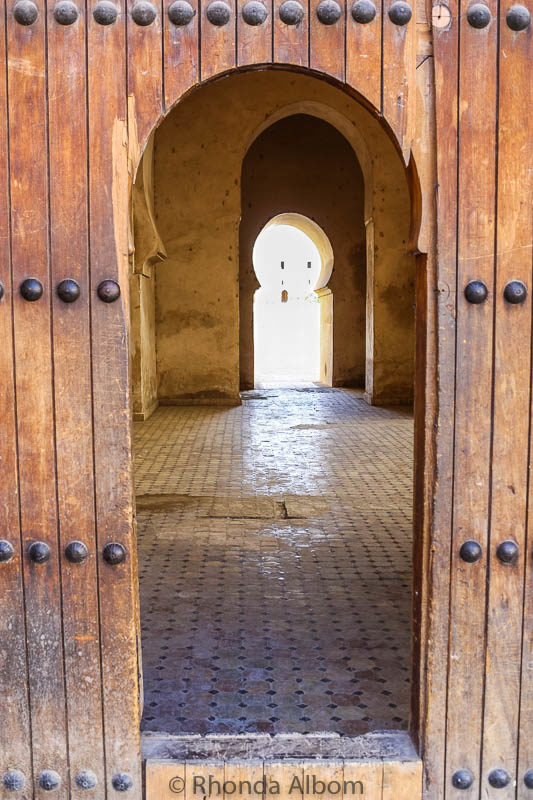 Beautiful wooden Moroccan arched doorways in Fes Morocco