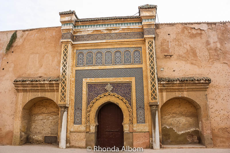 A closed gate along the Medina wall in Meknes Morocco