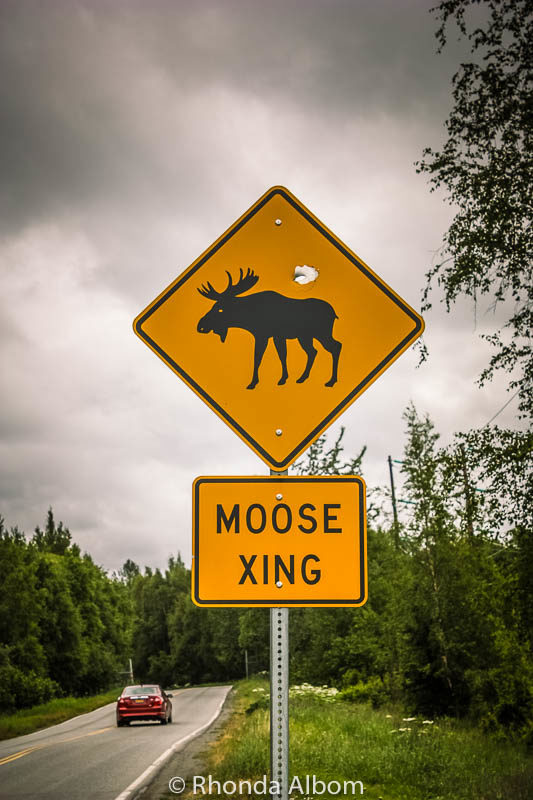Moose crossing sign seen while driving from Anchorage to Whittier in Alaska