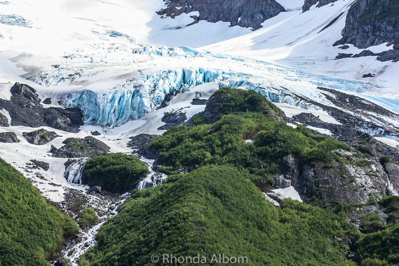 Blue glacial ice of the Portage Glacier in the Chugach National Forest of Alaska
