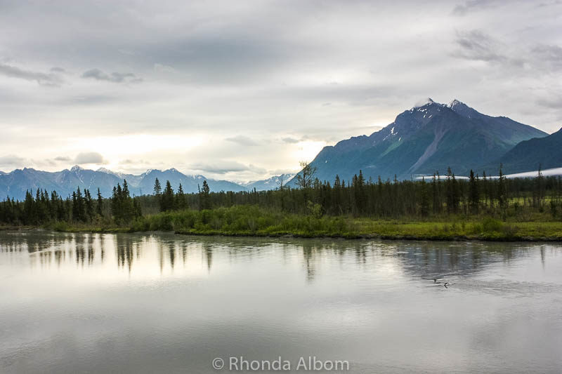 View of a lake from the train - Anchorage to Denali in Alaska