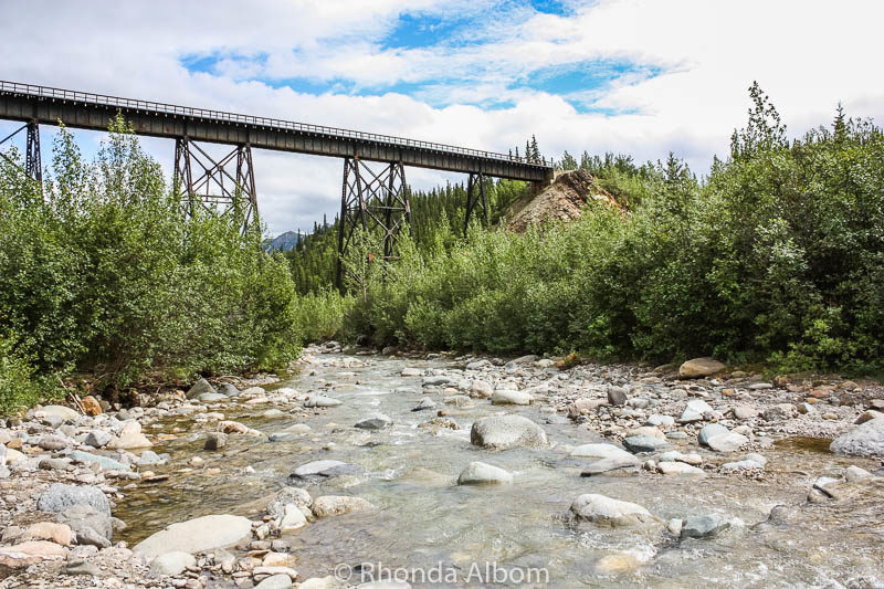 The train will pass over this bridge in Denali, Alasaka