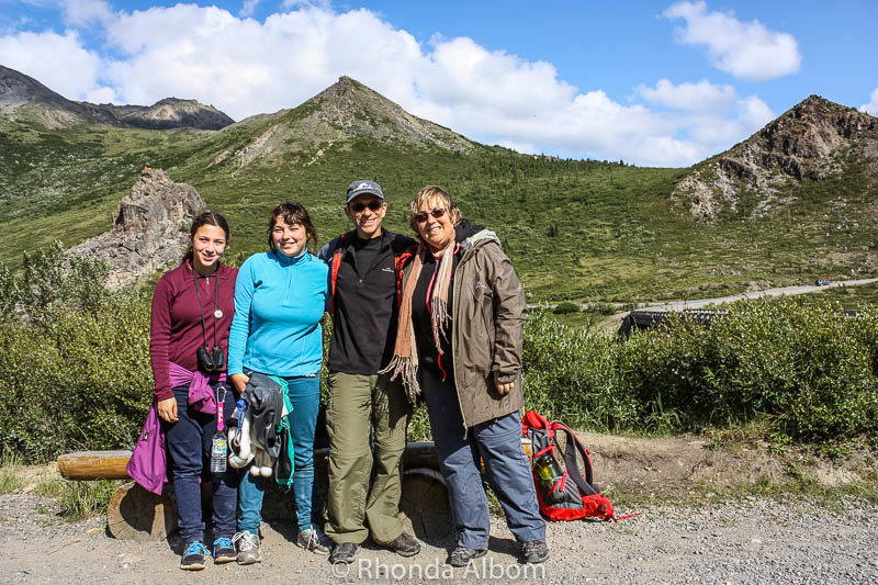 Family photo at Savage River Trail head in Denali Alaska