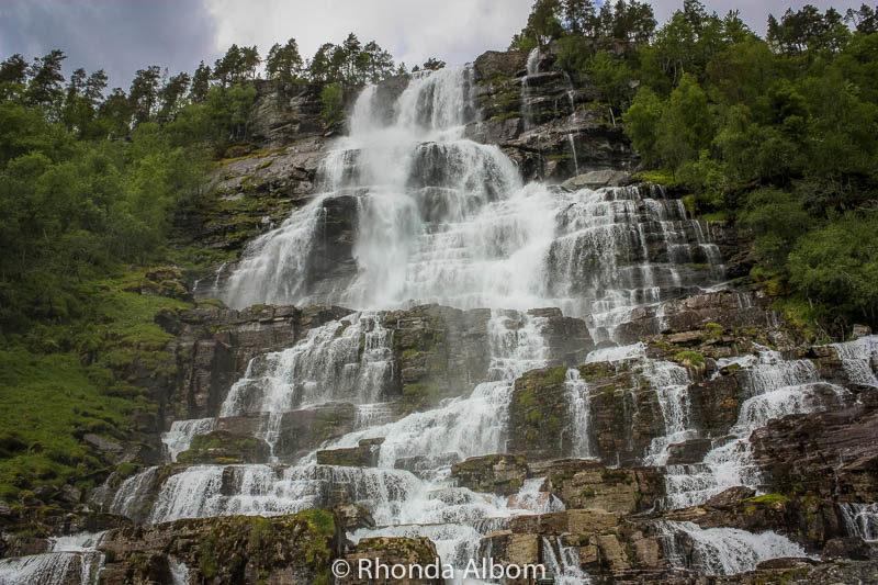 Tvindefossen Falls between Flam to Voss in Norway