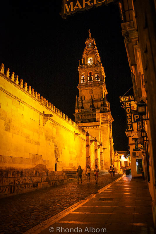 La Mezquita at night in Cordoba Spain
