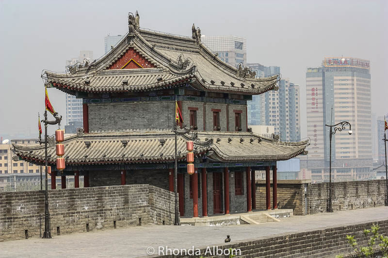 A sentry building sits on each of the ramparts of the Ancient city wall of Xian China