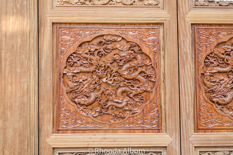 A beautifully carved door at one of the Da Ci'en Temple buildings in Xian China