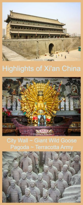 Highlights of Xian China include the City Wall, the Giant Wild Goose Pagoda and temple, and the army of the terracotta warriors. Read the article to see more images.
