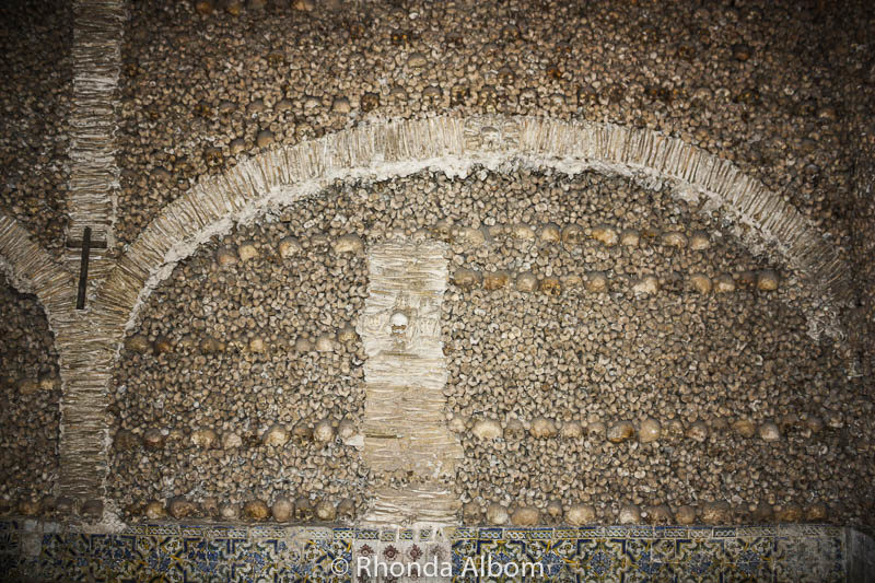A wall of bones in the Ossuary in Evora, Portugal