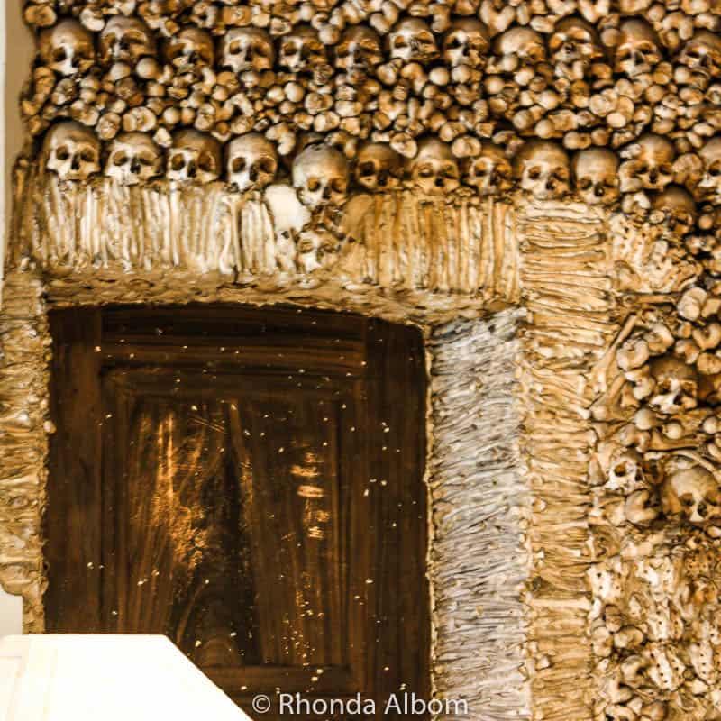 A doorway in the Chapel of Bones in Evora, Portugal