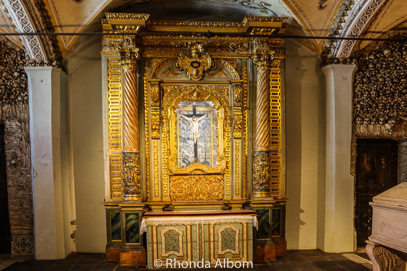 Traditional alter in the Chapel of Bones in Evora, Portugal