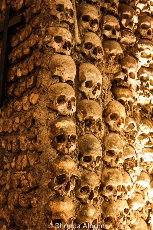 Column of skulls in the Chapel of Bones in Evora, Portugal