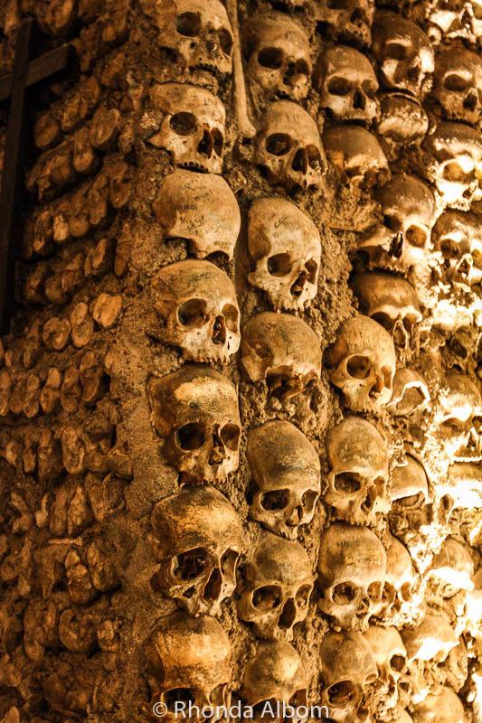 Column of skulls in the Chapel of Bones in Evora, Portugal