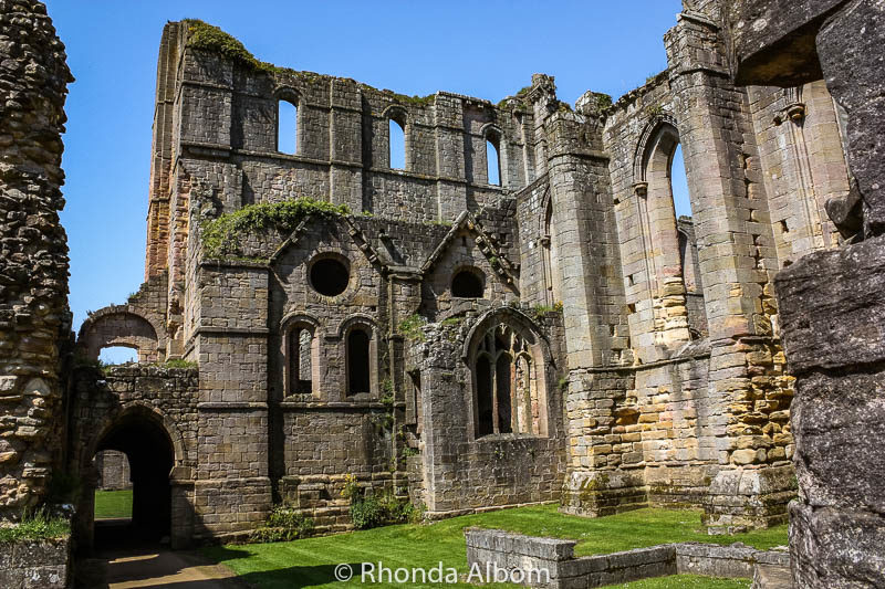 A closer look at Fountains Abbey in Yorkshire, England UK