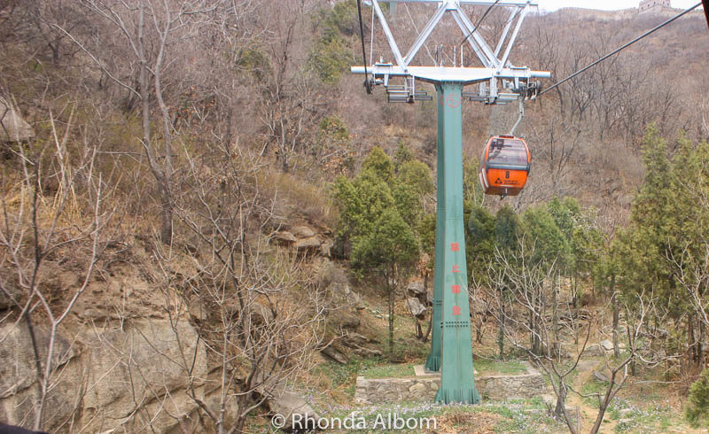 Cable car on the Way up to Mutianyu Section of the Great Wall of China