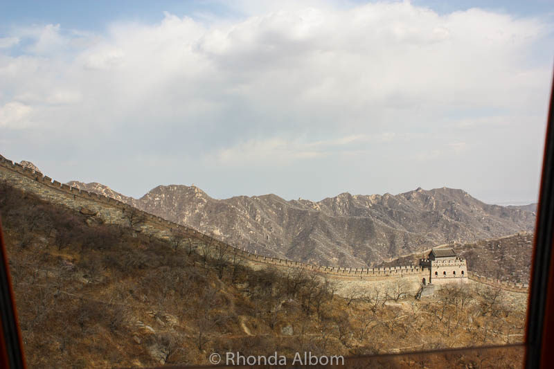 View from the cable car on the Way up to Mutianyu Section of the Great Wall of China