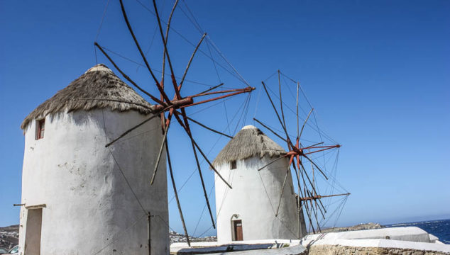 Whitewashed Buildings, Greek Chapels, and Windmills of Mykonos Greece