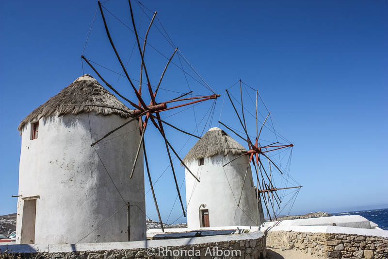 Two of the 16 remaining Windmills-Mykonos Greece.