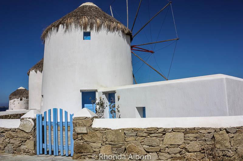 Windmills of Mykonos Greece.