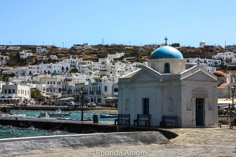 A blue roofed chapel on Mykonos Greece